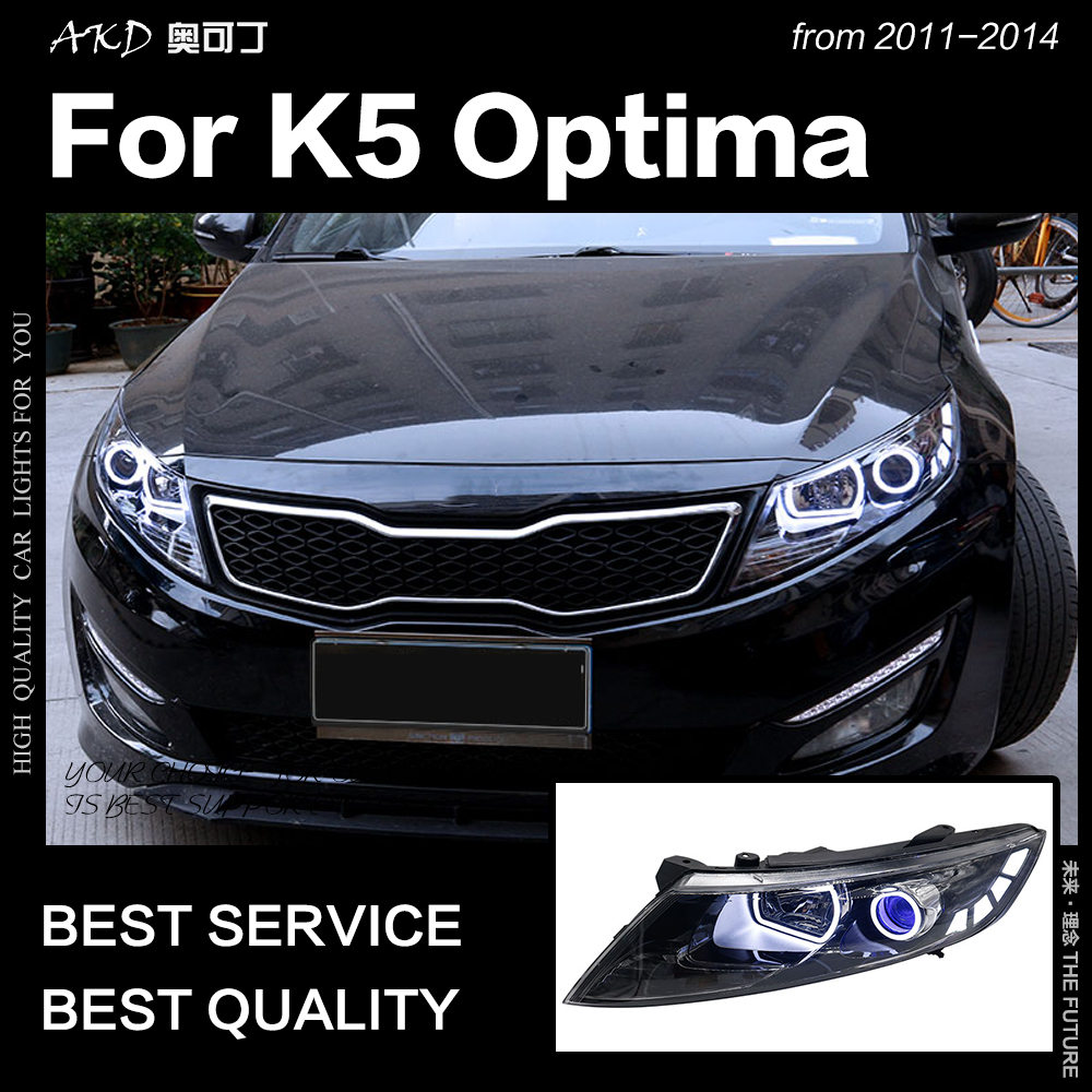 AKD Car Styling Head Lamp For Kia K5 Headlights 2011-2014 Optima LED Headlight Angel Eye LED DRL Hid Bi Xenon Auto Accessories
