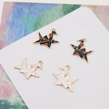2018 new design paper crane style alloy drop oil left and right earrings for woman pendant diy ear jewelry accessories