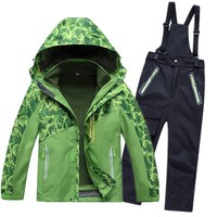 Children Winter Ski Sets Kids Windproof Waterproof Skiing Jackets+Overalls Pants Suit For Boys Girls Skiwear Skating Clothes Set
