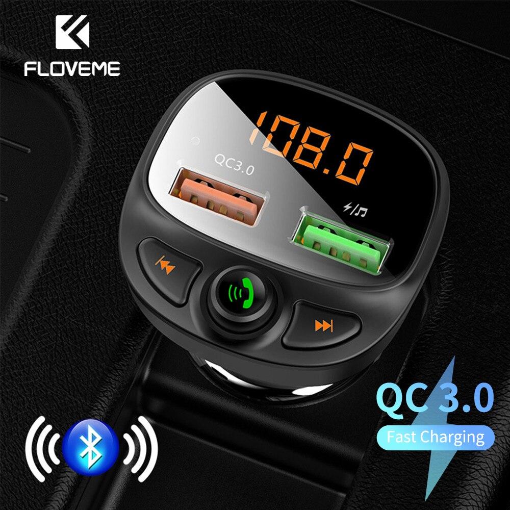 FLOVEME USB Автомобильное зарядное устройство Быстрая зарядка 3,0 Быстрая зарядка Bluetooth беспроводной fm-передатчик MP3 плеер TF карта музыкальный ав...