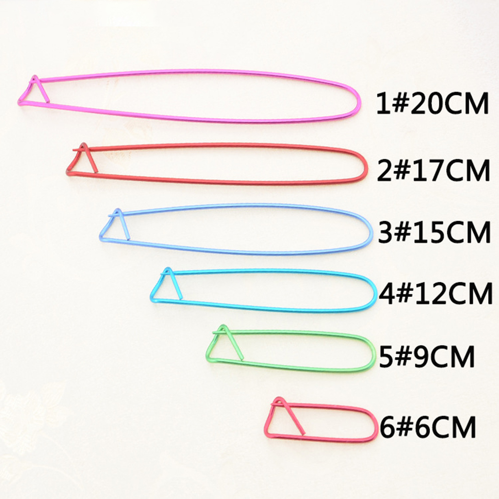 6PCS/Set Aluminum Knitting Needles Clip Craft Stitch Holders Safety Pins Crochet Hooks Locking Weaving Sewing Tools