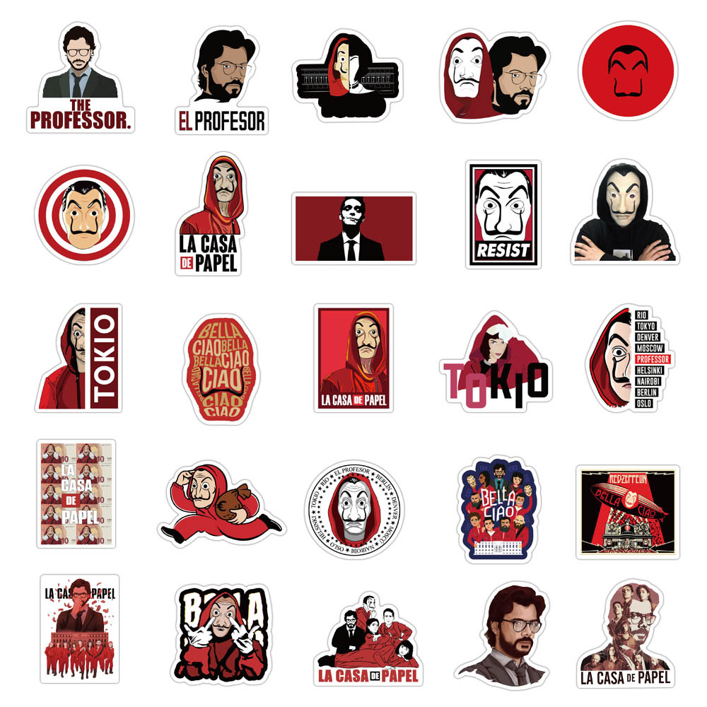 50PCS TV Show Money Heist La Casa De Papel Sticker For DIY Luggage Laptop Skateboard Motorcycle Bicycle Decal Stickers
