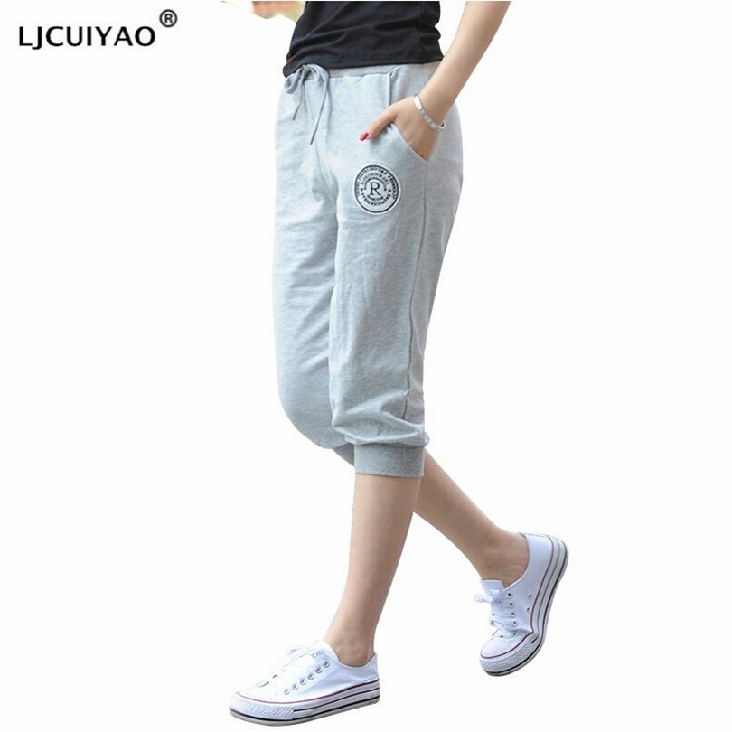 LJCUIYAO Womens High Waist Pants Plus Size Women Mid-Calf Legging Capri Leggings Fitness Sporting Pants With Pocket Trousers