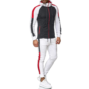 2019 Men's Casual Sports Suit Stripe Color Matching Fashion Hooded Slim Zipper Sets Fitness Running Young Coats Free Shipping