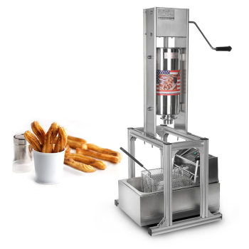 2pcs Machine / Lot Heavy Duty Vertical 5L Spanish Churrera Churros Machine Maker With 6L Electric Deep Fryer 5Pcs Nozzles free shipping doulbe head 220v electric churros maker machine