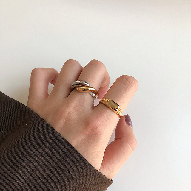 Statement rings for woman Chunky ring Dome ring Thick wide band Everday ring Unique ring Punk ring Geometric ring Cuff ring Woman gift ring