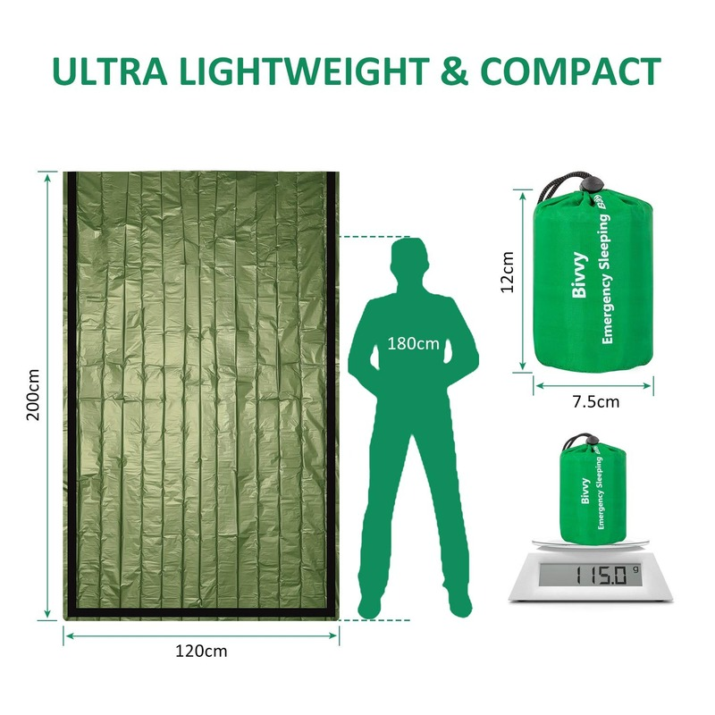 Image 3 - Emergency Sleeping Bag   Waterproof Lightweight Thermal Bivy Sack   Survival Blanket Bags Portable Nylon Sack Camping, HikingSafety & Survival   -