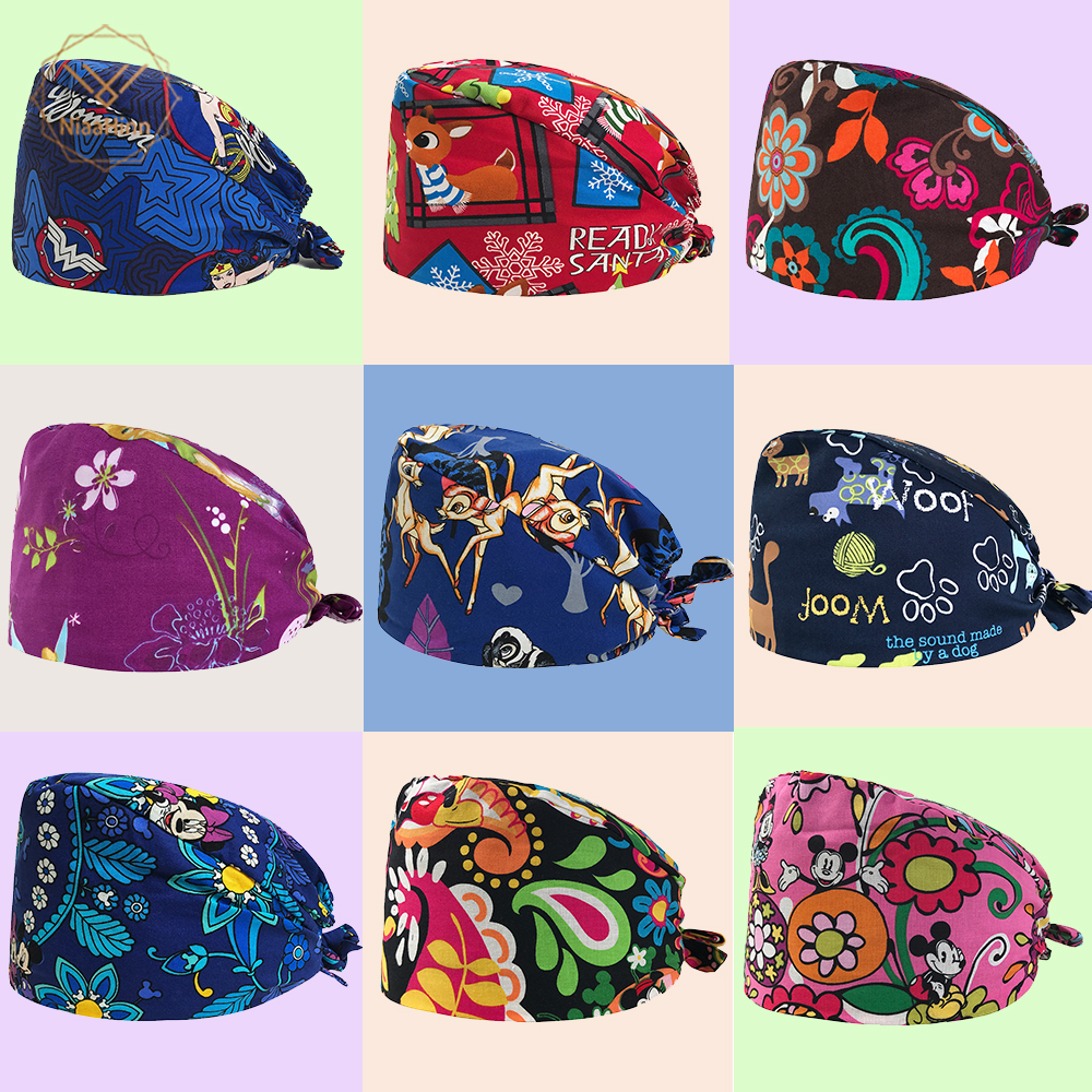 High Quality Unisex Medical Beauty Cap Women Doctor Nurse Printing Scrub Cap Mask Medical Surgical Surgery Hat Pet Shop Work Hat