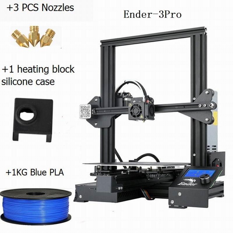 CREALITY 3D impresora Ender 3Pro DIY Kit v slot gran tamaño regalo boquillas y bloque calefactor funda de silicona + PLA - 4