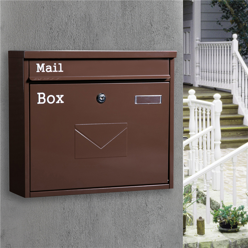 Retro Classic Rainproof Villas Mailbox Outdoor Lockable Wall-Mount Newspaper Boxes Secure Letterbox Garden Post Box F6016