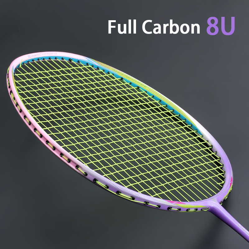 High Quality Ultralight 8U Carbon Fiber Badminton Racket Strung Offensive Type 22-28 LBS Rackets With Strings Bags Sports Padel