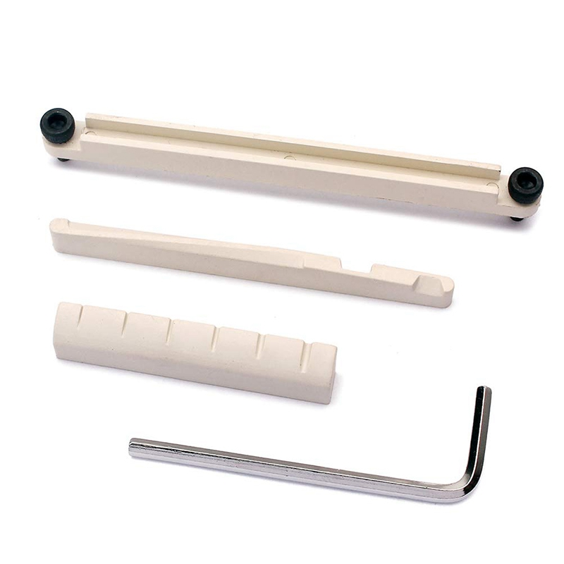 Guitar Bridge Saddle and Nut Replacement Bone Nut Saddle with Truss Rod Wrench for Acoustic Folk Guitar Mandolin Banjo white