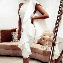 Adyce 2020 nouveau été blanc femmes célébrité robe de soirée Sexy vin rouge sans manches Patchwork volants moulante Club robes Vestidos