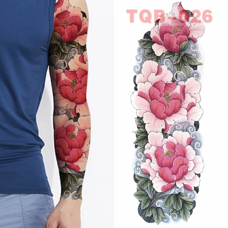 Full Skull Large Arm Sleeves Waterproof Temporary Tattoo Sticker Man Women  Fake Color Totem Tattoo Stickers Body Art Leg Arm