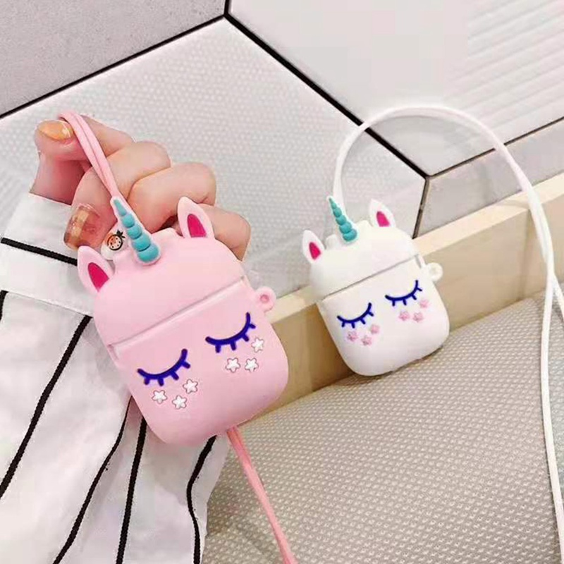 Cute Unicorn Soft Silicone Case Earphones For Apple Airpods Bluetooth Wireless Earphone Protective Box Attached Earphone Lanyard