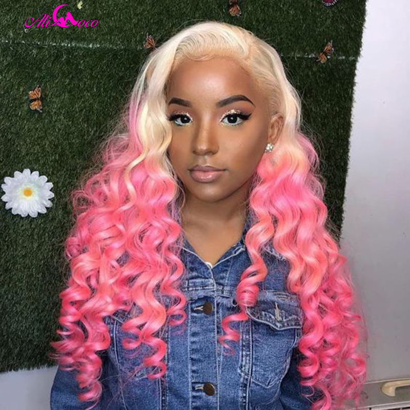 Ali Coco Pink Loose Wave Lace Front Wig Pre Plucked 150% Density 13X4 Pink Green Red Purple Deep Wave Lace Front Human Hair Wigs