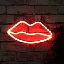Неоновый светильник с розовыми и красными губами, светодиодный неоновый знак USB/на батарейках для дома, свадьбы, Дня Святого Валентина, Настенный декор, неоновый