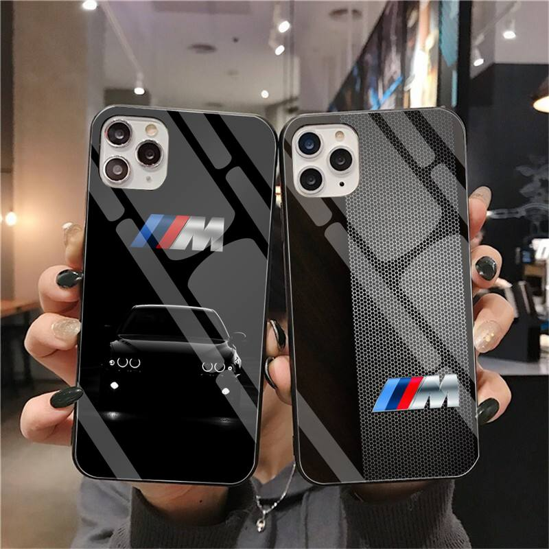 Bmw Blue Red Sport Car Bling Cute Phone Case Tempered Glass For iPhone 11 Pro XR XS MAX 8 X 7 6S 6 Plus SE 2020 case image