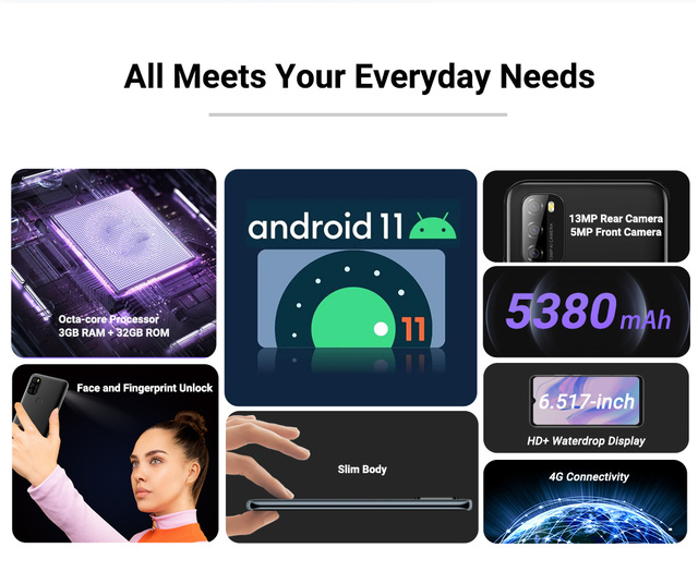 """Blackview A70 Android 11 Smartphone 6.517"""" Display SC9863 Octa Core 3GB ROM+32GB ROM 5380mAh 13MP Rear Camera 4G Mobile Phone 5"""