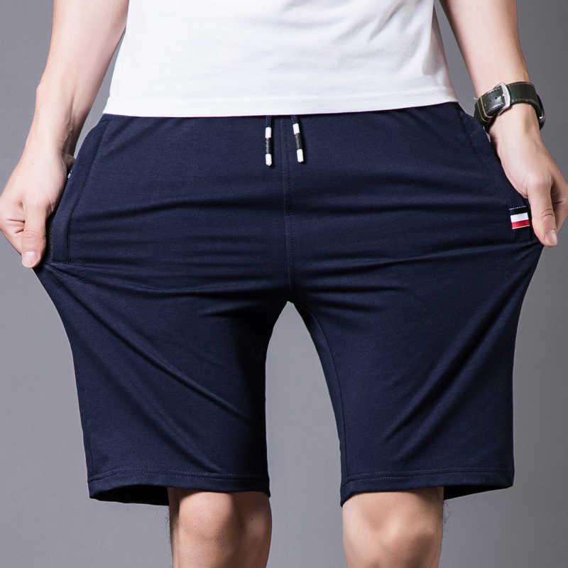 코 튼 반바지 남자 2020 여름 해변 짧은 남성 캐주얼 반바지 망 솔리드 boardshorts 고품질 탄성 패션 짧은 남자 S-4XL