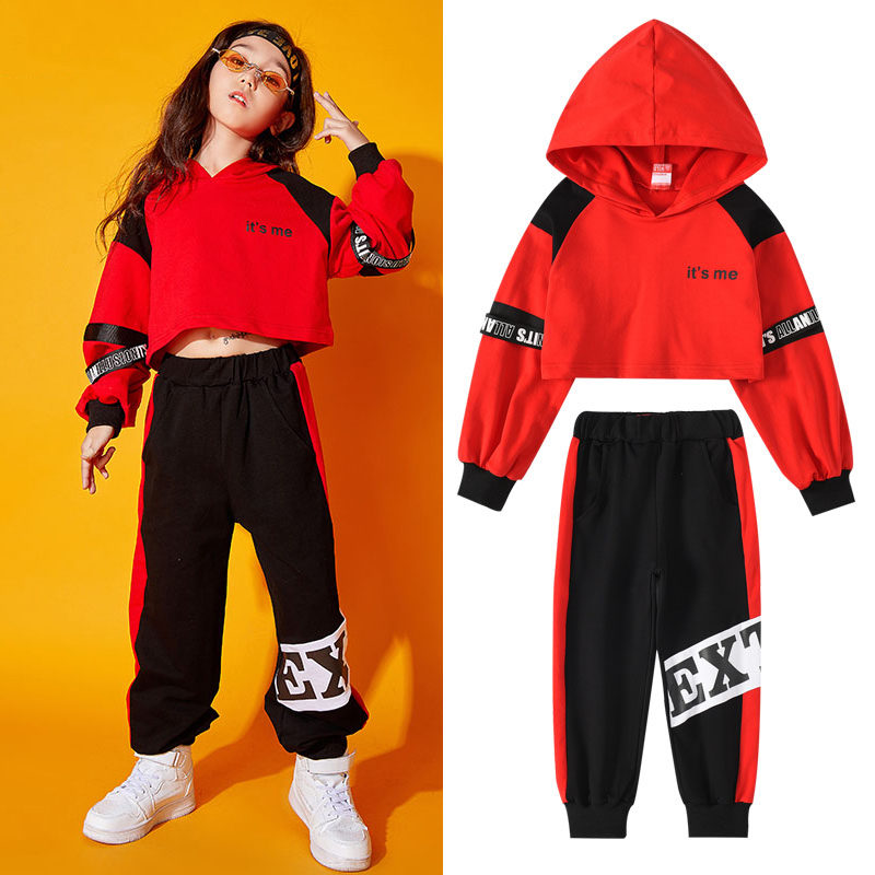Children'S Ropa Hip Hop Dance Costume Model Show Clothing Popular Girls' Jazz Clothing Street Dance Hoodies HipHop Clothes Kids