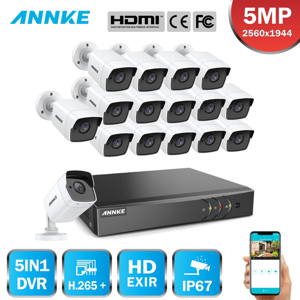 ANNKE 16CH 5MP HD Security Camera System 5MP Lite 5IN1 H.265+ DVR With 16PCS 5MP Bullet Outdoor Waterproof Surveillance CCTV Kit