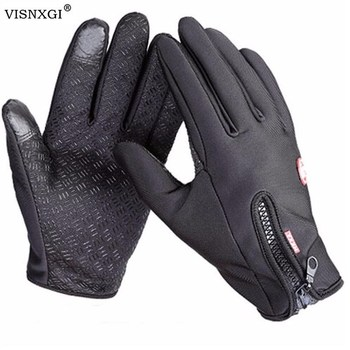 Anti Slip Windproof Thermal Warm Touchscreen Black Zipper Gloves