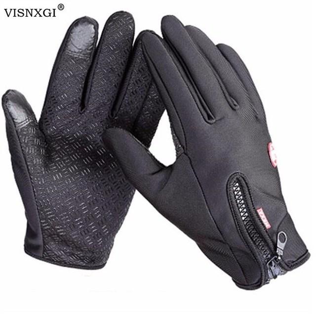 Anti Slip Windproof Thermal Warm Touchscreen Black Zipper Gloves