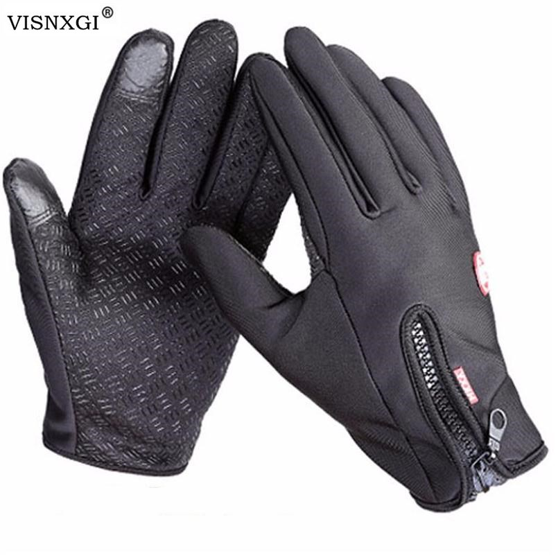 Windstopers Handschuhe Anti Slip Winddicht Thermische Warme Touchscreen Handschuh Atmungsaktive Tactico Winter Männer Frauen Black Zipper Handschuhe image