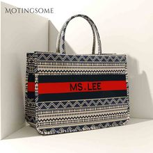 Женская сумка тоут в полоску, Высококачественная Холщовая Сумка на плечо, роскошная сумка шоппер, большая сумка в богемном национальном стиле, женская сумка 2019