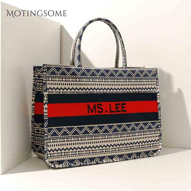 Women Tote Bag Striped High Quality Canvas Shoulder Bag Luxury Shopper Large Bag Bohemian National Style Handbag for Lady 2019