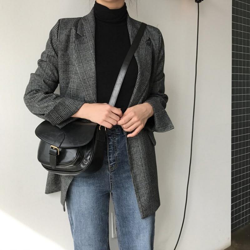 Fanco Women's Check Long Sleeve Cotton Jacket Causual Vintage Coat Plaid Blazer