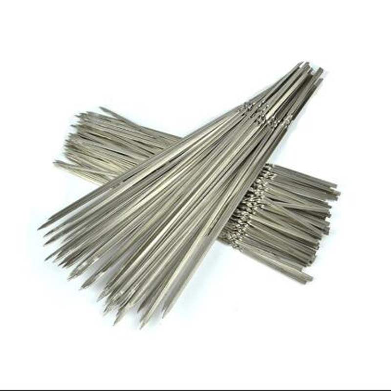 Stainless Steel BBQ Tools Barbecue Skewers Thick Reusable Flat Meat Bbq Needle Stick For Outdoor Camping Picnic Barbeque Tool