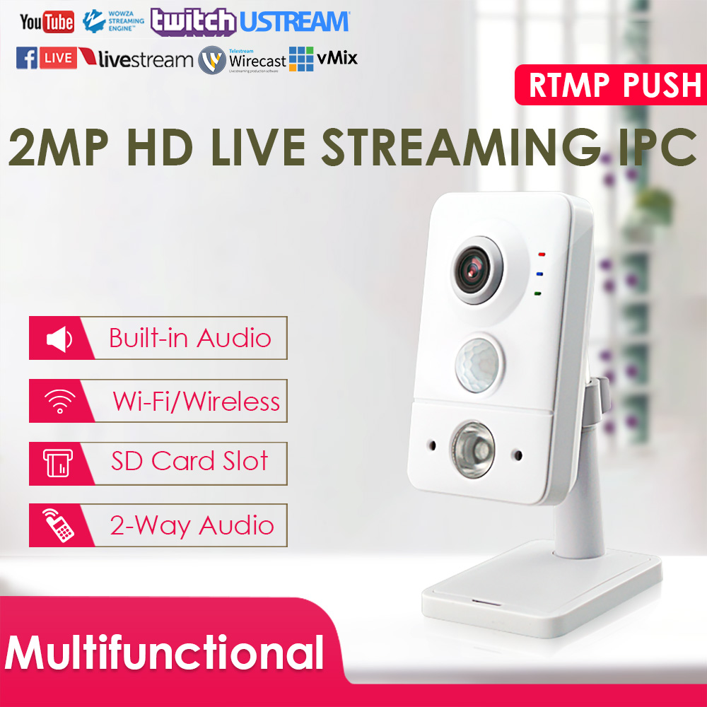 2.0Megapixel P2P WiFi Wireless Cube Live Streaming IP Camera Security Camera W/IR PIR Push Video Stream To YouTube/Wowza By RTMP