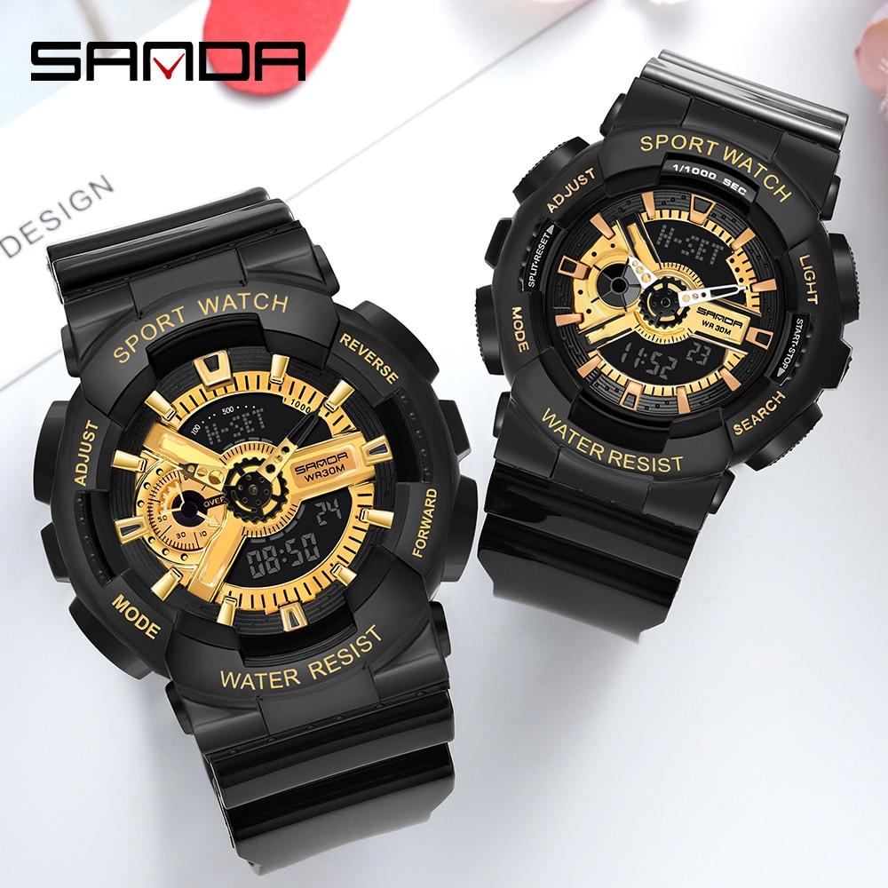 SANDA Sports Mens Watch Business Couple Watches Waterproof Count Down Timer Digital Stopwatch G Shock Clock Relogio Masculino