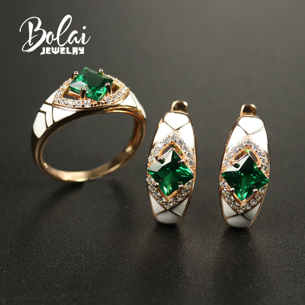 Bolaijewelry, Jewelry Set Created russia emerald nano sq6.0mm earring ring 925 sterling silver fine jewelry for women best gift