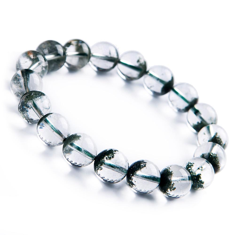 11mm naturel vert fantôme Quartz Bracelet fantôme Chlorite cristal clair perles rondes extensible jardin femmes hommes AAAAA
