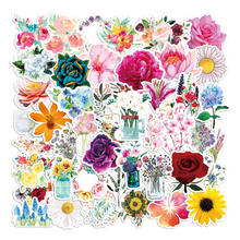 50PCS Various Plant Fresh flowers Roses Stickers for DIY Stationery Laptop Decal Scrapbook Skateboard PS4 Guitar Helmet Sticker