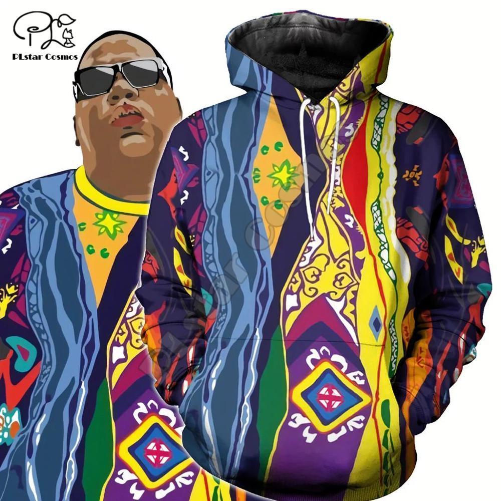 Men Unisex Harajuku The Notorious B.I.G. Print 3d Hoodie Rapper Biggie Smalls Sweatshirt Zipper Women Native Pullover Streetwear