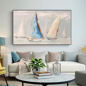 Hand-painted Abstract Oil Painting Sailing Modern Scandinavian Living Room Decorative Painting Paintings Smooth Sailing Office
