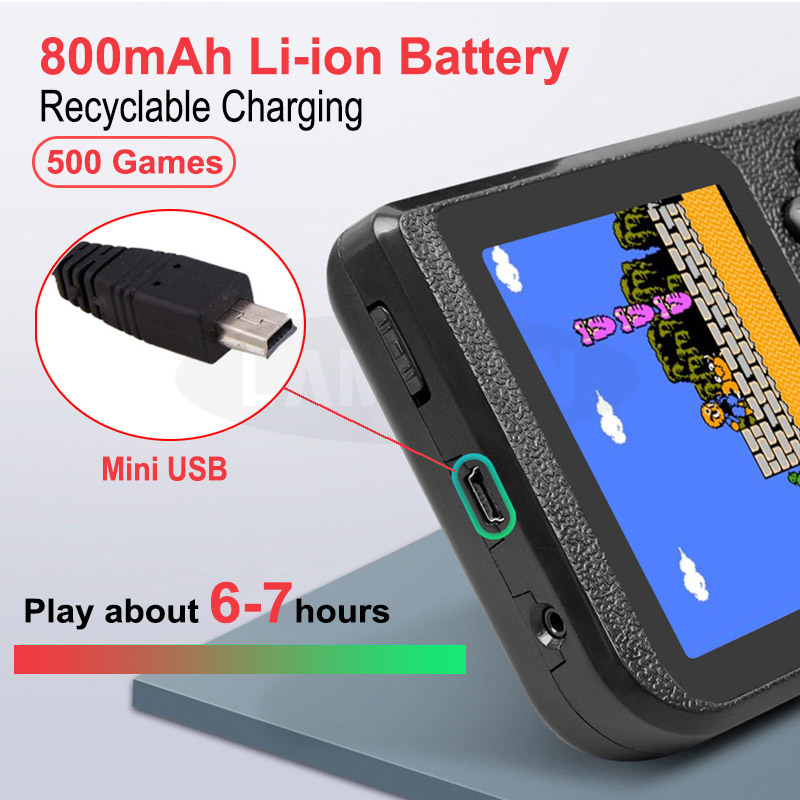 New Built-in 500 Games 800mAh Battery Retro Video Handheld Game Console 3.0 Inch LCD Game Player for Child