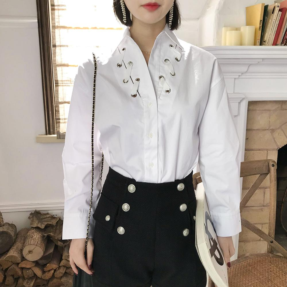 2020 New Women White Cotton Blouse Long Sleeve Turn Down Collar Perforated Tie Feel Fashion Shirt Top