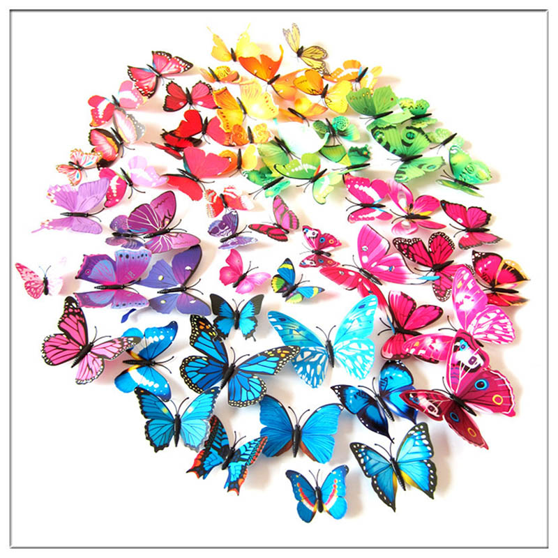 12Pcs 3d Butterflies Wall Sticker Beautiful Butterfly for Kids Room and living room Wall Decals Home Decoration On the Wall