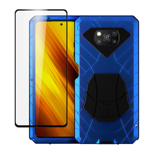 Case For Xiaomi POCO X3 NFC with Tempered Glass Heavy Duty Protection Armor Shockproof Hard Aluminum Metal Mobile Phone Cases