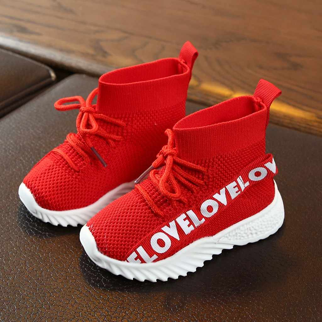 Kinderen kids Laarzen Baby Meisjes Jongens Brief Stretch Run Sneakers Sport Kids Schoenen Meisje Laarzen Botas Tenis Infantil Buty Zapatos