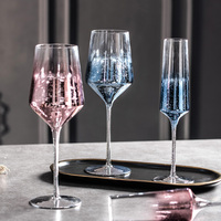Blue gold pink crystal glass Starry sky wine glass Goblet cocktail cup home Party champagne cup Personality glass Drinkware