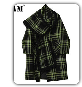 H4b5df9bf4f5b4ff38a1db1a772ddaf00Q [EAM] Loose Fit Black Hollow Out Pin Spliced Jacket New Lapel Long Sleeve Women Coat Fashion Tide Autumn Winter 2019 JZ500