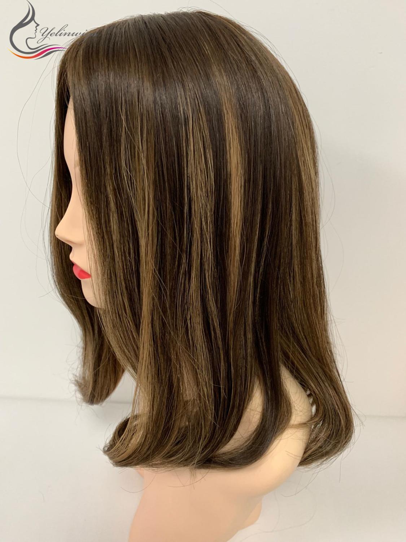 14 Inch Fashion Fashion Highlight Color European Hair Silk Top Wigs Customized Wigs For White Women