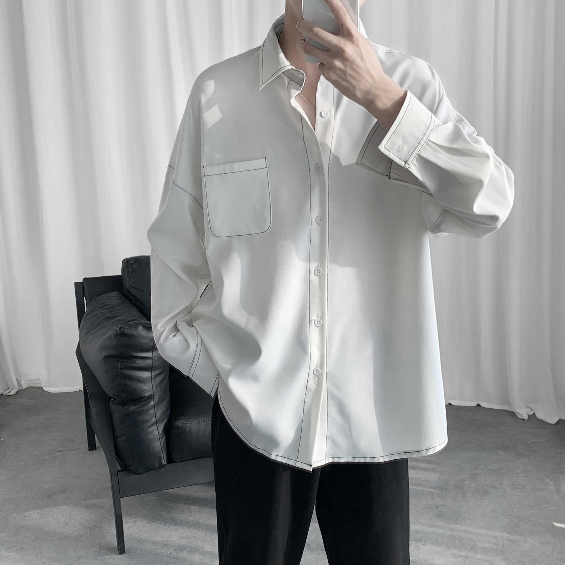 Black White Long Sleeve Shirt Men Oversized Fashion Men Shirt