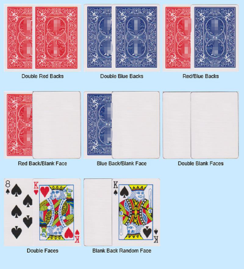 8 Pcs Magic Cards Special Gaff Cards Magic Tricks Red/Blue, Double Face/Back/Blank, Face/Blank For Magician Props